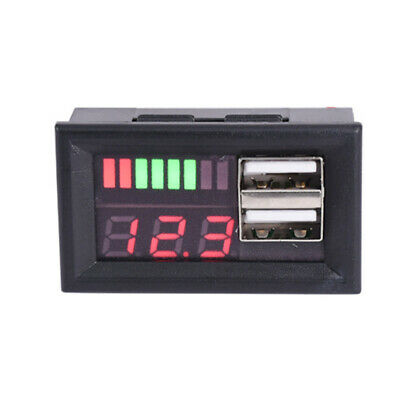1Pcs LED 12V Lead Acid Battery Capacity Indicator Voltage Meter Dual USB Charger