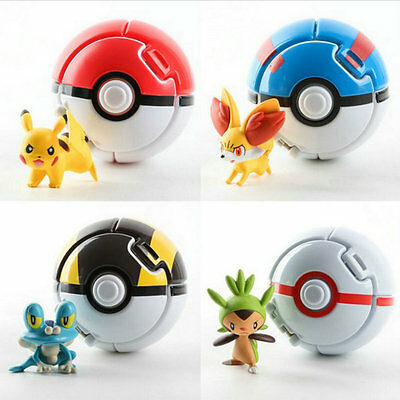 4PCS Pokemon Throw Pop PokeBall Cosplay Pop-up Elf Go Fighting Poke Ball Toy AU