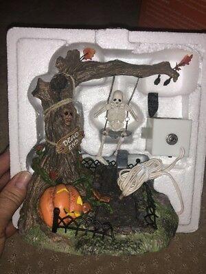 Swinging Skeleton Dept 56 Snow Village Halloween Accessory 52514 animated A