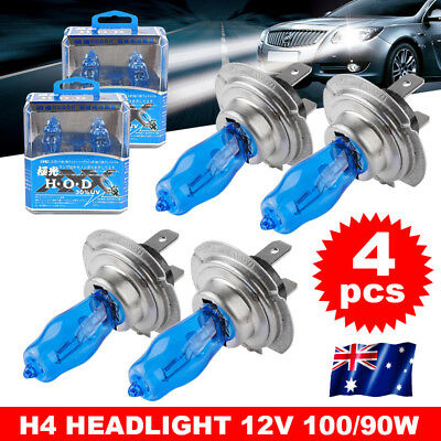 4X 6000K H4 Bulbs Globes Car Headlight Light 12V Xenon Super White 90W 100W