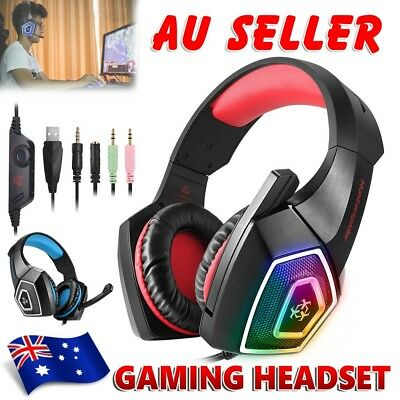Gaming Headset MIC LED Headphones Surround for Mac Laptop PC PS4 Xbox One 3.5mm