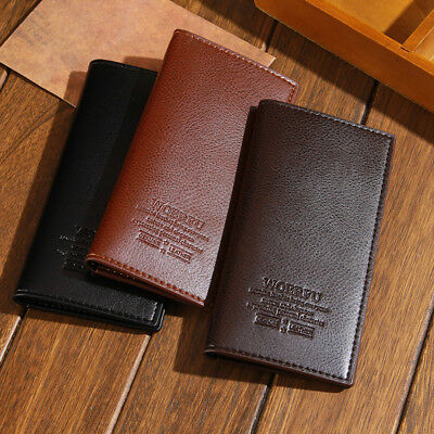 Business Mens Long Casual Leather Black Wallet Pockets Card Clutch Bifold Purses