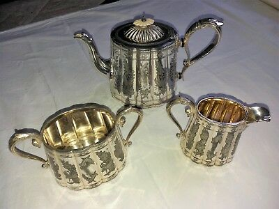 Antique EP Silver plated 3-piece engraved tea & coffee pot set