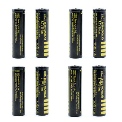 8Pcs Protected BRC 18650 Rechargeable Li-ion Battery 4000mAh 3.7V Lithium Cells