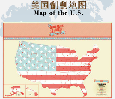 Big Scratch Off US America Map Personalized Wall Travel Poster Decor Scratch Map