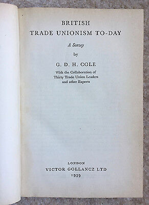 British Trade Unionism To Day Cole 1939 Vintage  Book  HB