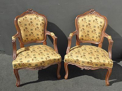 Pair Vintage French Country Carved Wood Gold Floral ACCENT CHAIRS