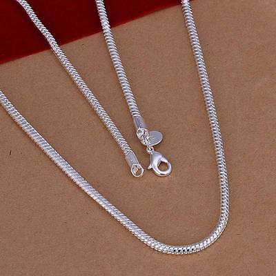 New 925Sterling Solid Silver Men Jewelry 3MM Snake Chain 16-24 Inch Necklace
