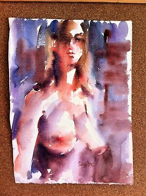 SIGNED WATERCOLOUR, NUDE BY SIDNEY FORT fellow of the royal art institute of nsw