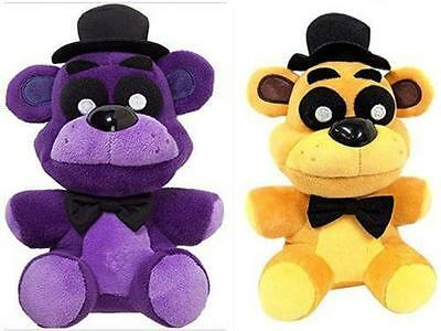 FNAF Five Nights at Freddys PURPLE Shadow and GOLD Bear Plush Doll Toy Xmas Gift