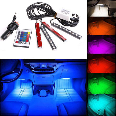 4pc 9LED Remote Control Colorful RGB Car Interior Floor Atmosphere Light Strip