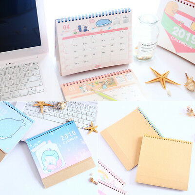 2018 - 2019 Cute Desktop Flip Calendar Stand Up Office Room Desk Table PlannerAU