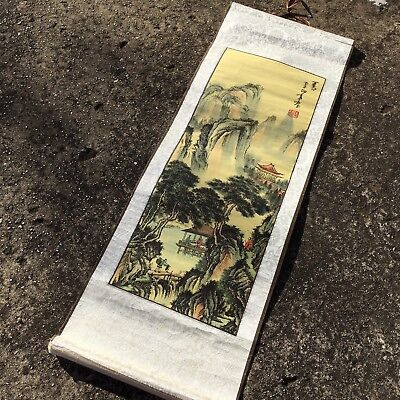 """ASIAN MOUNTAIN """"White & Beige"""" Beautiful Hanging Scroll Picture Plaque Wall Art"""