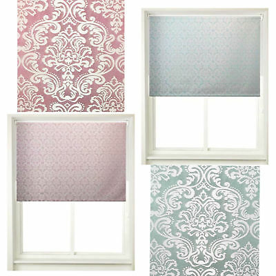 Damask Window Roller Blinds Trimmable Decorative Curtains Easy Fit Blind/Curtain