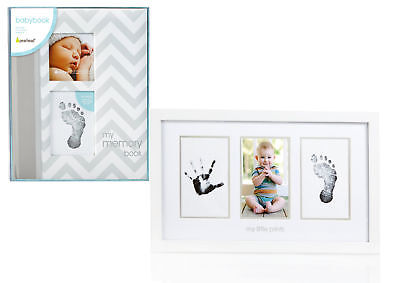 Maven Gifts: Pearhead Chevron Baby Book with Clean-Touch Ink Pad, Grey with Pear