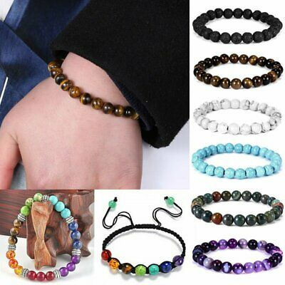 Handmade Natural Gemstone Round Beads Bracelet Stretch Bangle Women Men Unisex