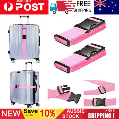 2PCS Adjustable Suitcase Luggage Strap Travel Baggage Lock Belt Buckle Holder AU