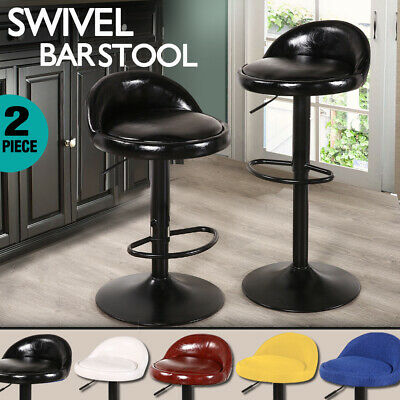2x PU Leather Swivel Bar Stool Barstool Kitchen Chair Dining Gas Lift Adjustable