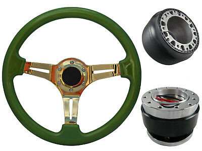 Pea Green Gold Quick Release TS Steering Wheel + Boss Kit fits HONDA 048