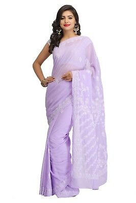 Indian Christmas Chikan Saree Hand Embroided Georgette Lucknawi Ethnic Wear Sari