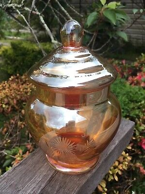 Stunning Vintage Iridescent Orange Amber Apothecary Jar Opalescent Glass Marigol