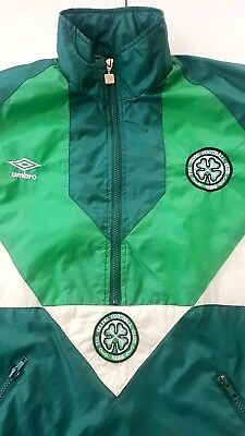 GENUINE VINTAGE UMBRO  90s GLASGOW CELTIC FOOTBALL TRACK TOP / JACKET SZ L