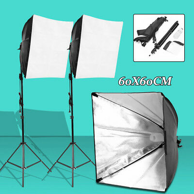 Photo Studio Video Photography Continuous Lighting Kit Softbox+Light Stand+Bulb
