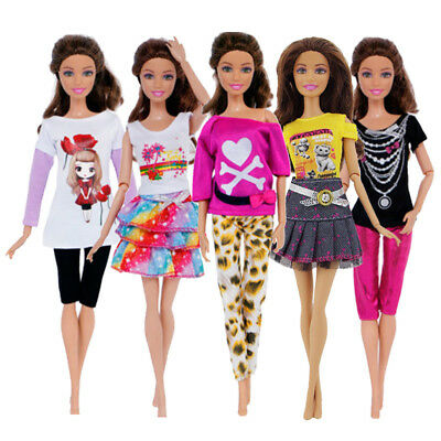 """5 Set Fashion Doll Clothes Handmade Tops Dress Pants Outfit For 11"""" Dolls Dolls"""