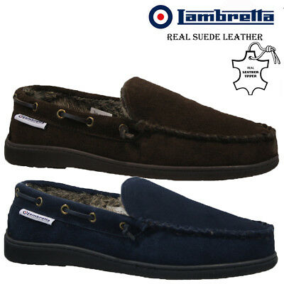 ac2966afd3b6 Mens Lambretta Moccasins Slippers Loafers Real Suede Leather Fur Winter  Shoes