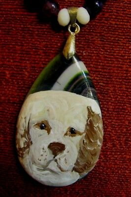 Clumber Spaniel hand painted on tear-drop pendant/bead/necklace
