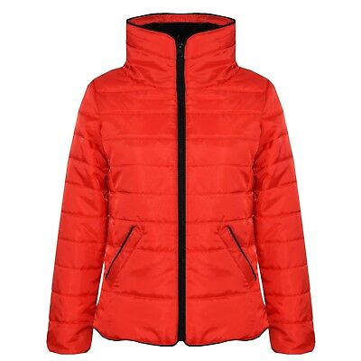 Kids Girls Jacket Red Padded Puffer Bubble Faux Fur Collar Warm Coats 5-13 Years