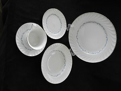 """Celebrity Fine China """"Evening Tide""""  Pattern, White with Blue Trim #5634P"""