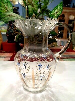 Beautiful Delicate Hand Blown Vintage Pitcher Clear W/hand Painting Ruffle Top