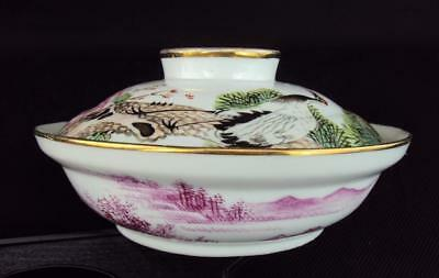 V-fine Chinese Antiques Porcelain Oriental Famille Rose Bowl & Cover