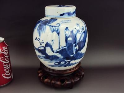 Rare Chinese 19thC Antiques Porcelain Oriental Blue White Tea Caddy & Wood Stand
