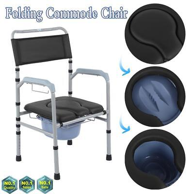Folding Adult Toilet Seat Potty Commode Chair Bedside Bariatric Drop Arm Safety