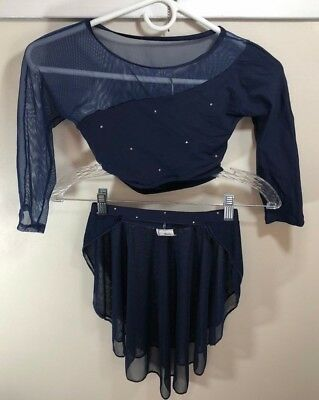 Body Wrappers Costume Mesh Crop Top/ Pull-on Half Skirt Adult XS-S Navy Blue