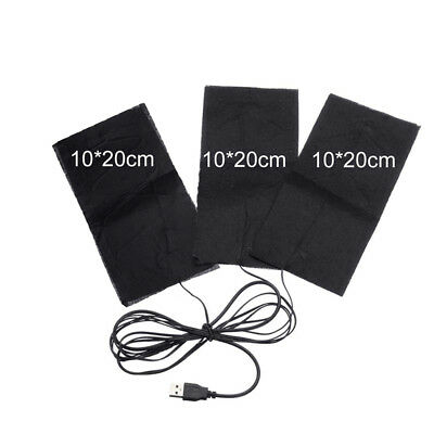 USB 3 in 1 Electric Heating Pad Electric 10x20cm Clothes Carbon Fiber CH