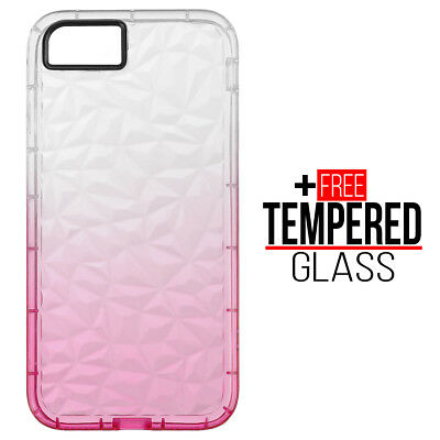 Pour iPhone 7 8 Diamond Pattern Cas Cover TPU Soft Silicone Gel Shockproof Rose