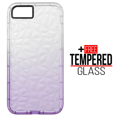 Pour iPhone 7 8 Diamond Pattern Cas Cover Soft Silicone Gel Shockproof - Violet