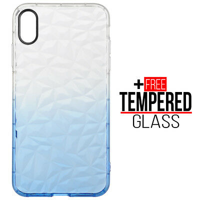 Pour iPhone XS Max Diamond Pattern Cas Cover Soft Silicone Gel Shockproof Bleu