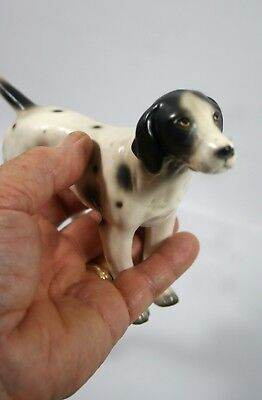 "Vintage Porcelain Shorthair Pointer Spotted Dog Figurine 7.5"" Long X 5"" Tall"