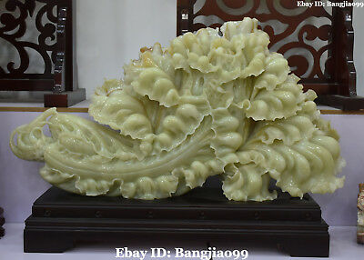 103CM Huge Top 100% Natural Green Jade Wealth Baicai Cabbage Bok Choy Bai Cai