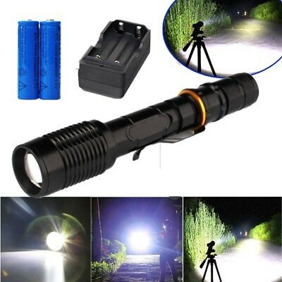 LED Tactical Flashlight 90000LM T6 Rechargeable Hiking Torch+18650 Batt+Charger