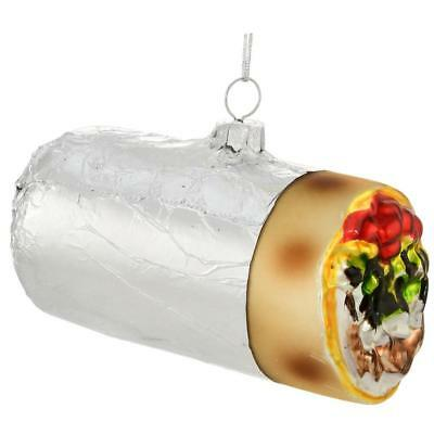 Christmas Ornament  Burrito In Foil Glass  Chipotle Lover Holiday Glass Gift US