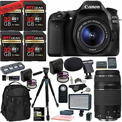 Canon EOS 80D Digital SLR Camera Kit, 75-300mm Lens, 4 32GB Memory Cards + More