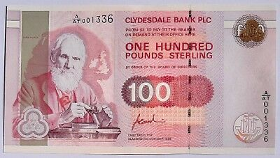 Scotland-100 Pounds-1996-Clydesdale Bank-Goodwin Sign-High Value ,p.223 ,au;unc