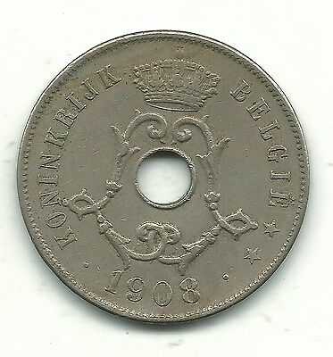 Very Nice High Grade 1908 Belgium 25 Centimes Coin-Oct51