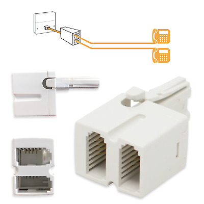 BT Telephone Phone Plug Socket Double Adapter Splitter 4-Wire Two-Way / White