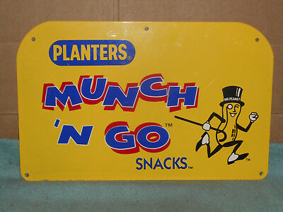 Planters Peanuts Munch N Go  Tin Advertising Sign